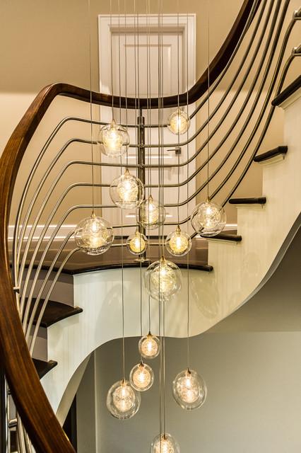 Two Story Foyer Ceiling Fan : Kadur custom cascade bubble blown glass chandelier two