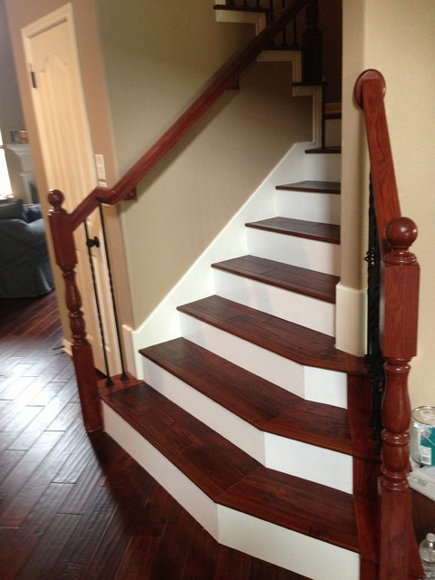 Kentwood Acacia Wood Stairs With Painted Risers
