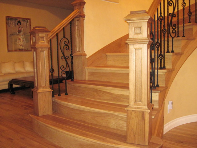 King Newel Post Hickory Stair Project Traditional