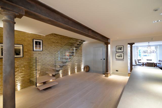 Ladbroke Road Straight Stair With Glass Balustrade