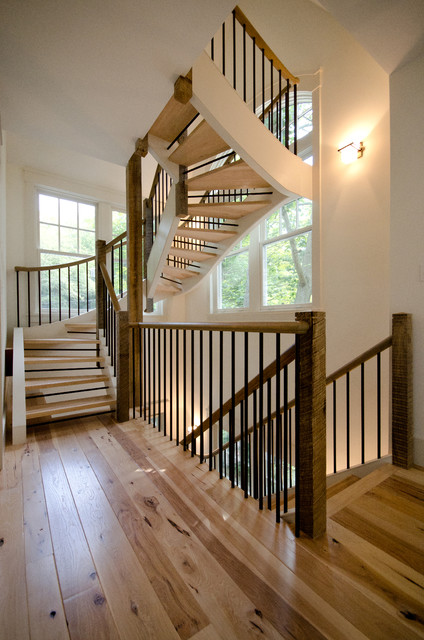 Lake Front Cottage, Lake Sunapee NH contemporary-staircase