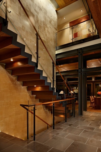 Lake House Two Stair Contemporary Staircase