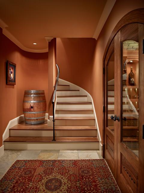 Lakeside Lookout Wine Cellar mediterranean-staircase