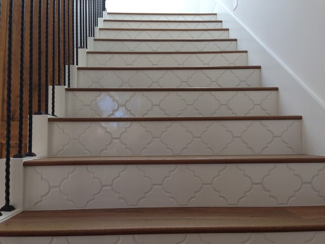 Landmark Mohave Wood Stairs With Tile Risers Traditional Staircase