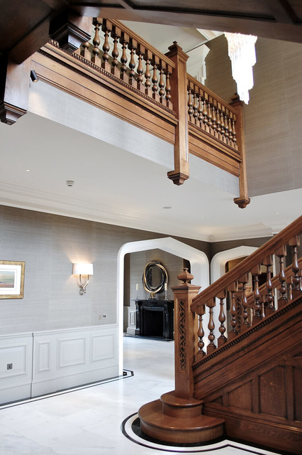 Large georgian inspired oak staircase and entrance hall for Georgian staircase design
