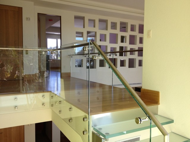 LED lit glass stair case contemporary staircase