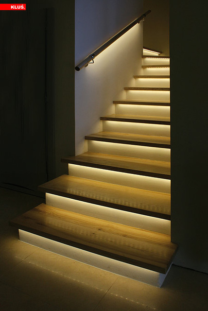 Attractive LED Staircase Accent Lighting Contemporary Staircase