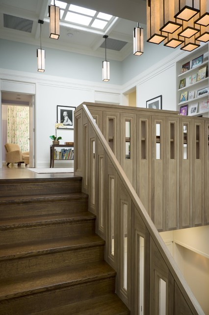 LEED-Certified Gold Home Stair Hall modern-staircase