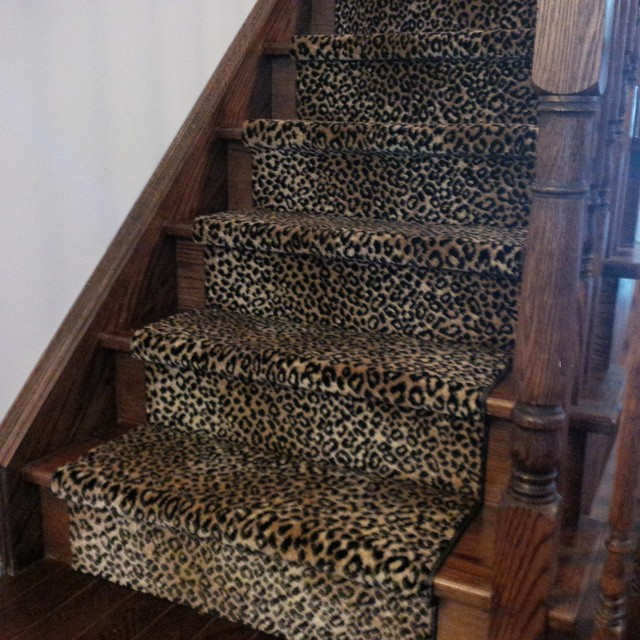 Leopard Carpet Wall To Wall : Leopard print stair runner traditional staircase
