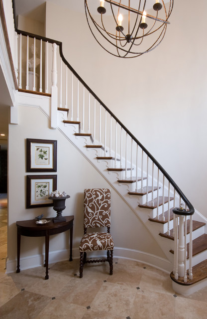 Leslie hayes interiors traditional staircase for Foyer staircase decorating ideas