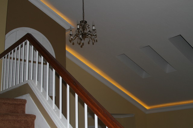 Lighted Crown On A Vaulted Ceiling Contemporary
