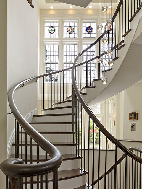 Lighting Renovation, Brookline, MA contemporary-staircase