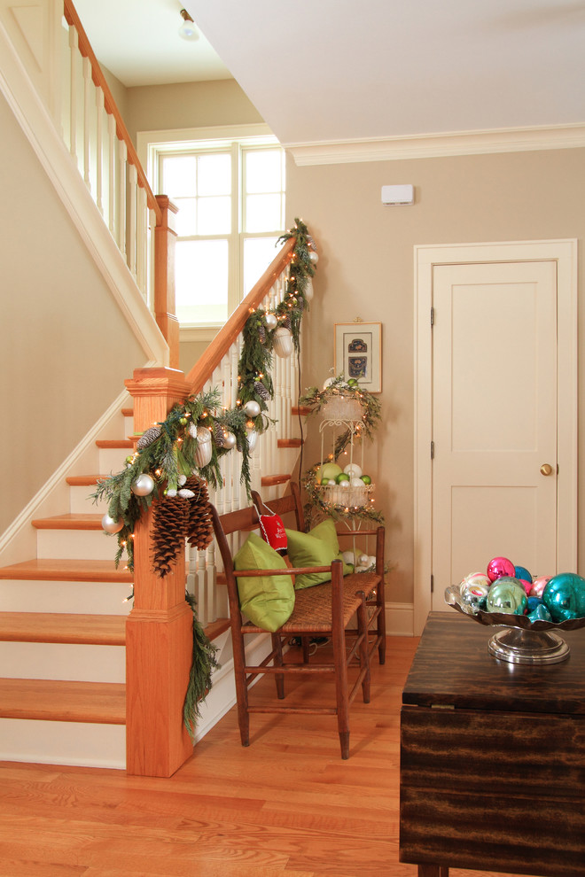 Staircase - farmhouse staircase idea in Minneapolis with wooden risers