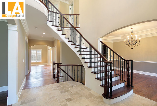 Living Room Traditional Staircase Los Angeles By La Design Build