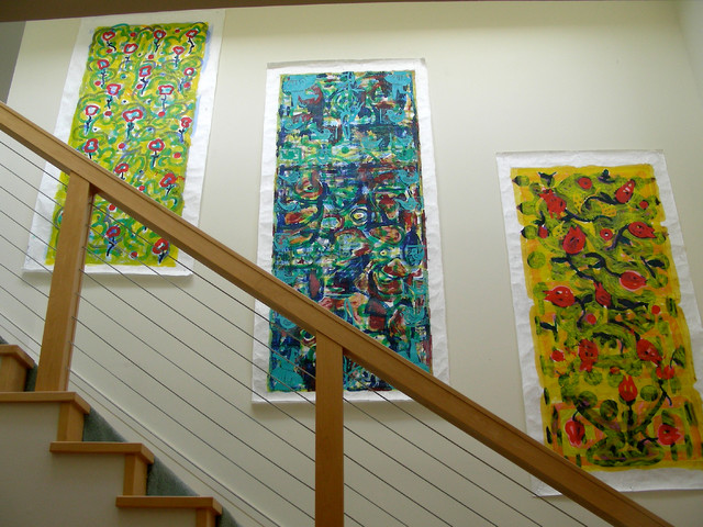 Living with Art on a Stairwell contemporary-staircase