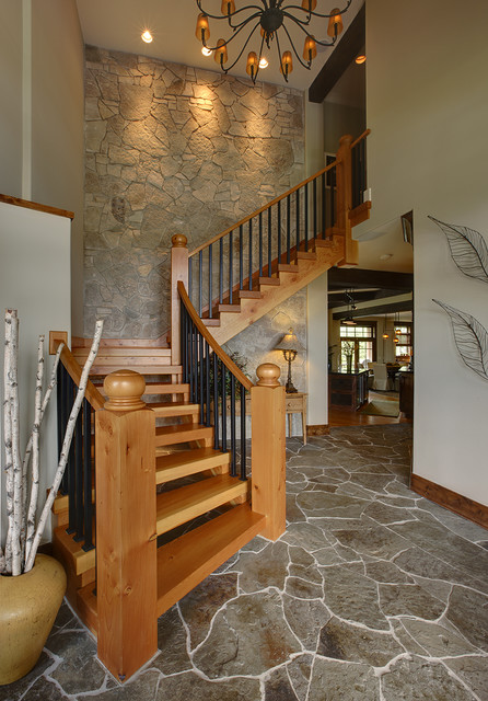 Naperville Custom Home rustic-staircase
