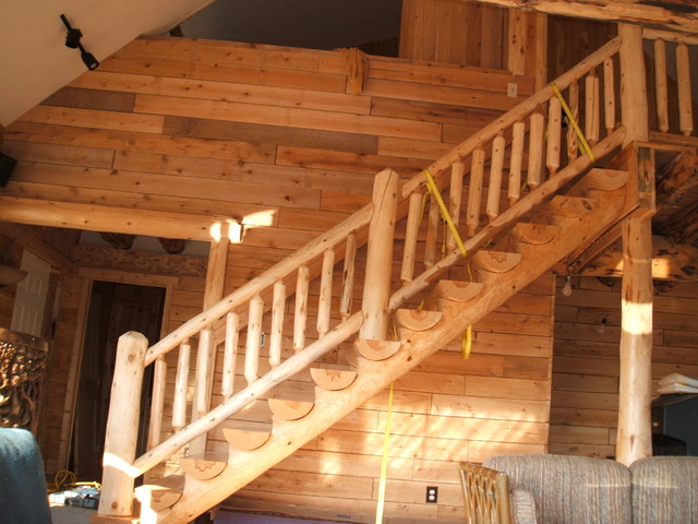 Log Cabin Traditional Staircase Detroit By Sanford Customs