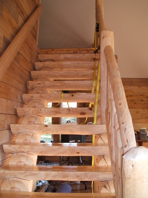 Log cabin traditional staircase detroit by sanford for How to build a small cabin with a loft