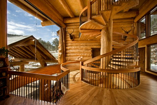 loveland montagne escalier denver par pioneer log homes of british columbia ltd. Black Bedroom Furniture Sets. Home Design Ideas