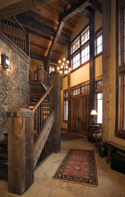 Houzz Rustic Foyer : Lynne barton bier home on the range rustic staircase