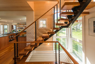 Maine Oceanfront Renovation Transitional Staircase