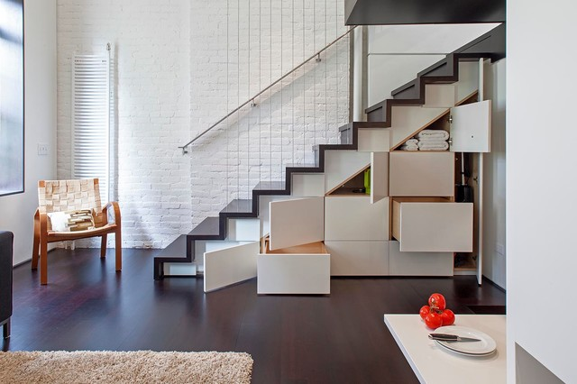 Lovely Manhattan Micro Loft Industrial Staircase