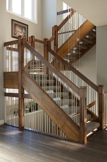 Trendy Carpeted L Shaped Open Staircase Photo In Calgary