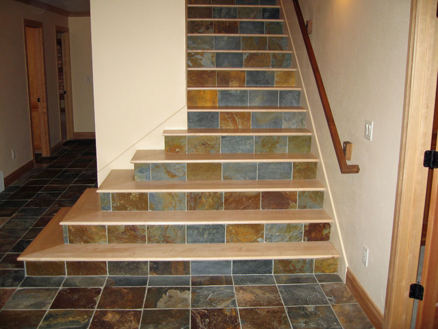 Maple Stair Treads with Tile Risers - Staircase - other metro - by Classic Hardwood Floors