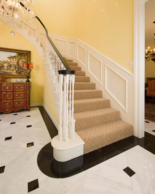 Foyer Marble Tile Designs : Marble foyer traditional staircase dallas by