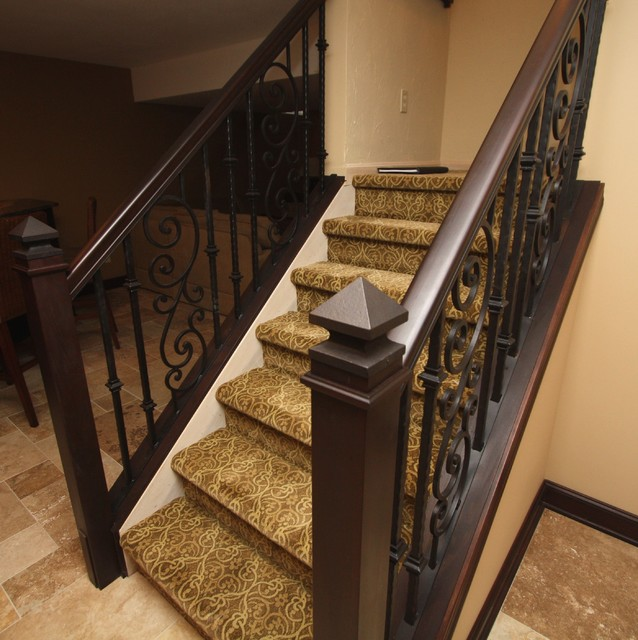 Ornamental Iron Stair Rail Mediterranean Staircase