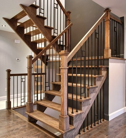 Medium Brown Oak Staircase   Open Risers   Wood And Metal Railing 1  Contemporary Staircase