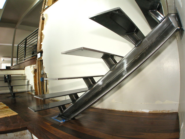 Metal Staircase and rails modern-staircase
