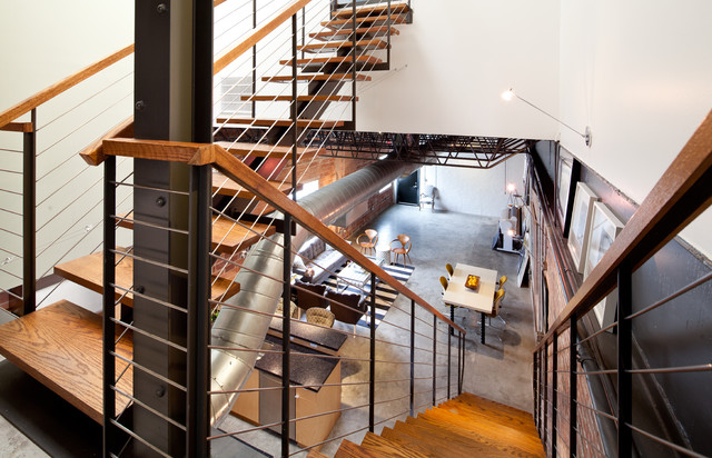 Gentil Inspiration For An Industrial Open And Cable Railing Staircase Remodel In  Houston
