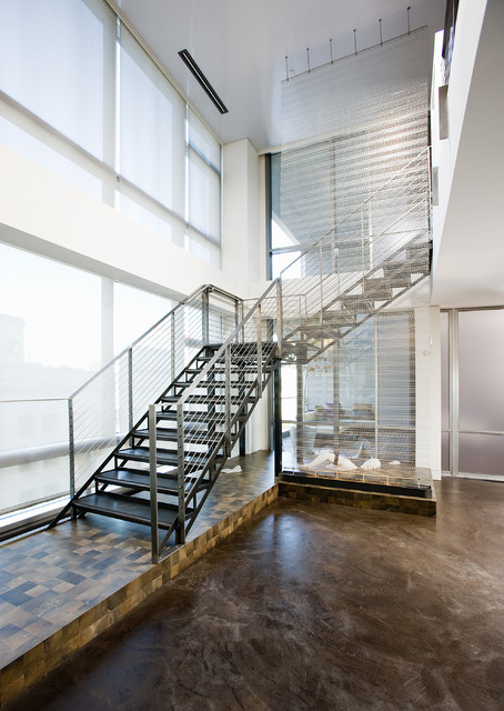 Inspiration for a contemporary l-shaped open staircase remodel in Seattle