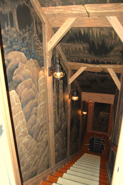 Mine Shaft Mural down stairway to lower level by Tom Taylor of Wow Effects eclectic-staircase