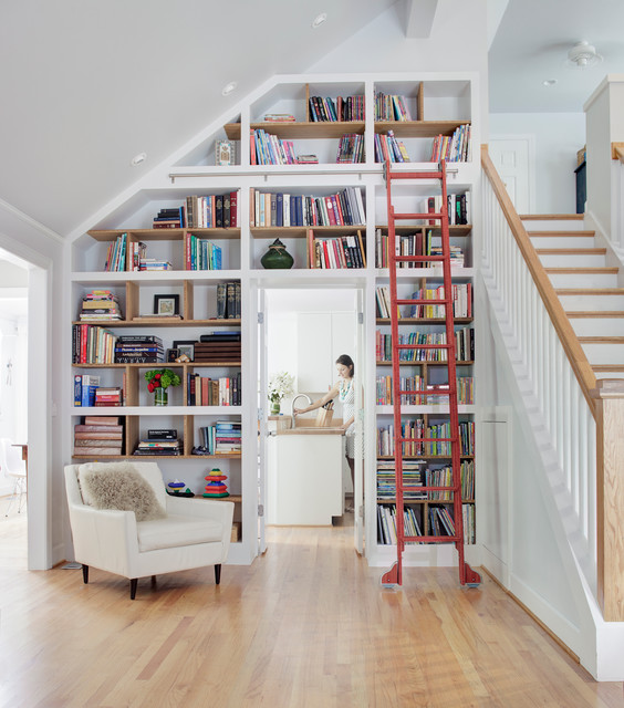 Staircase   Transitional Wooden Straight Staircase Idea In Raleigh