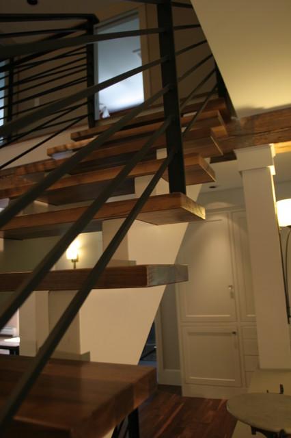 modern craftsman renovation transitional-staircase