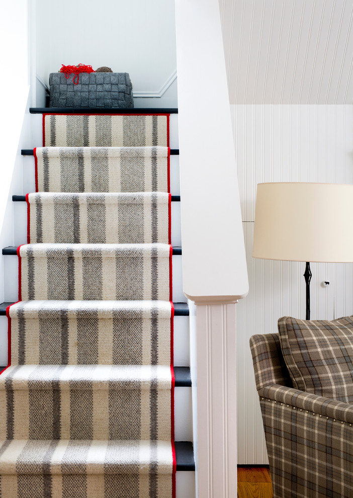 Staircase - mid-sized farmhouse wooden l-shaped staircase idea in DC Metro with painted risers