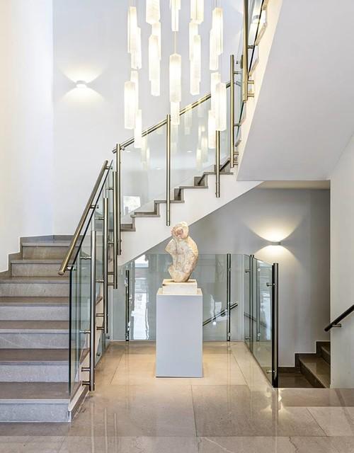 modern foyer chandelier in two level