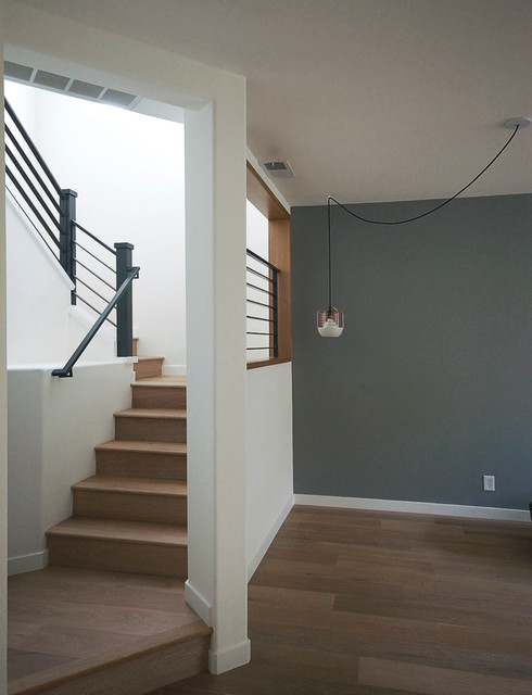 Modern Oak Stair With Metal Railing Midcentury