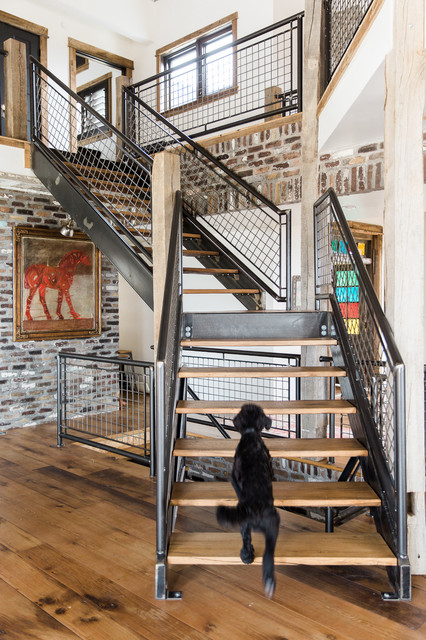 Modern Rustic Home Industrial Staircase Salt Lake City By Aubrey Veva Design Houzz Ie