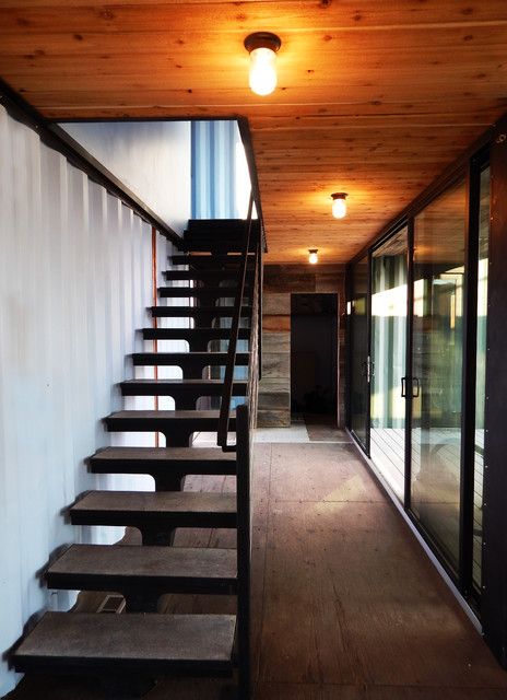 Modern Shipping Container Cabin industrial-staircase