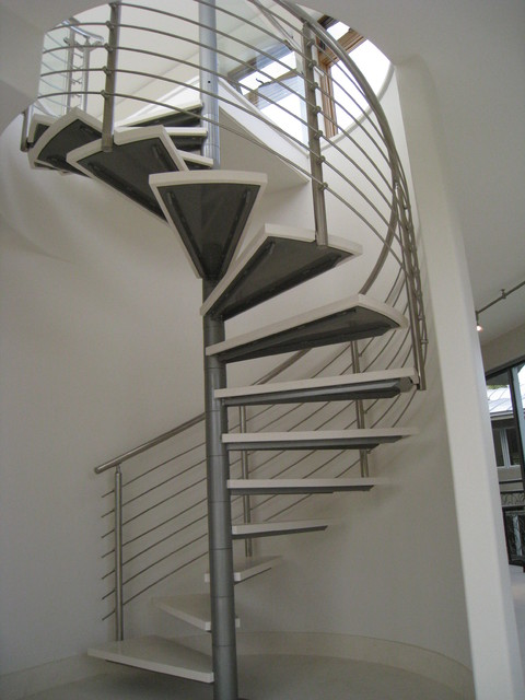 stainless steel spiral stair and rails contemporary staircase