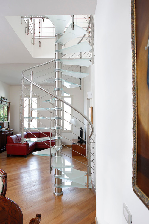 Glass and steel spiral stairs