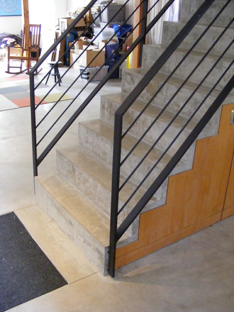 Modern Wood, Steel + Concrete Stair with Built-in Cabinets - Door 13 Architects modern-staircase