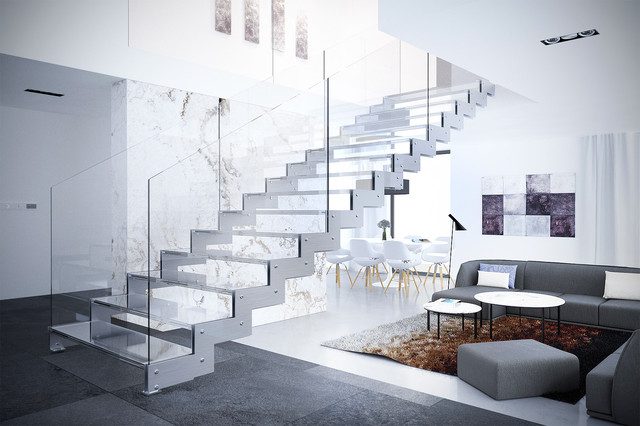 Example Of A Large Trendy Glass Floating Open And Glass Railing Staircase  Design In New York