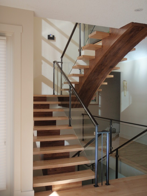 Mono Stringer - Maple and Walnut - Contemporary - Staircase - calgary - by Charles Wakelin