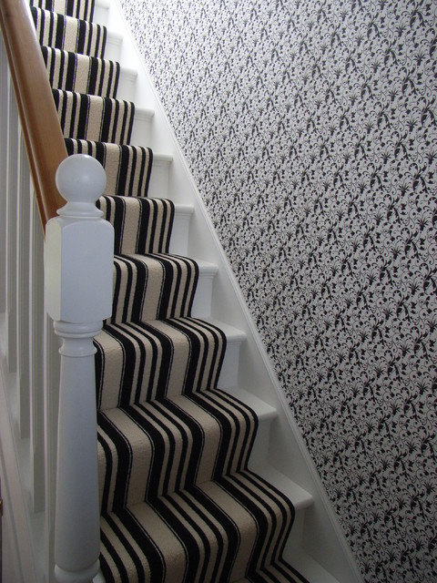 Monochrome Striped Stair Carpet Runner And Patterned Wallpapercontemporary Staircase