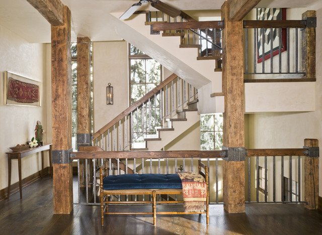 Mountain Chic rustic-staircase