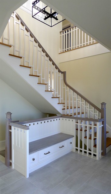 Mudroom Amp Rear Stair With Storage Bench Inspired By